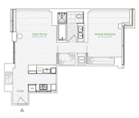 floorplan for 1 River Terr #12B