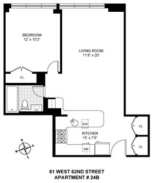 floorplan for 61 West 62nd Street #24B