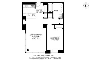 floorplan for 303 East 33rd Street #5M