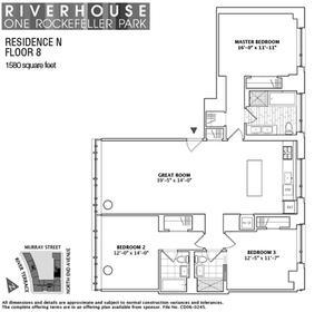 floorplan for 2 River Terrace #8N