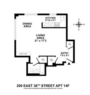 floorplan for 200 East 36th Street #14A