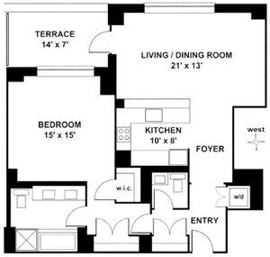 floorplan for 15 Central Park West #6H