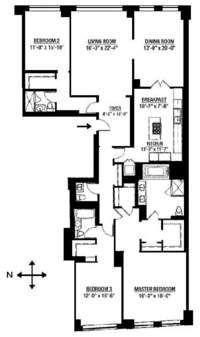 floorplan for 15 Central Park West #27C