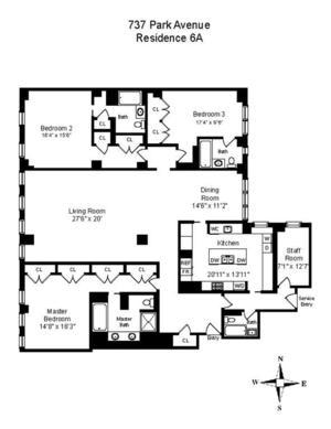 floorplan for 737 Park Avenue #6A