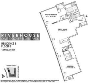 floorplan for 2 River Terrace #5S
