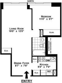 floorplan for 61 West 62nd Street #25C