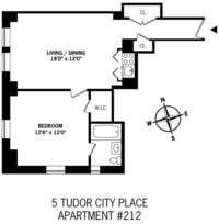 floorplan for 5 Tudor City Place #212