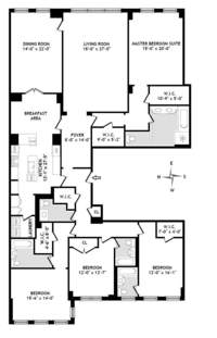 floorplan for 15 Central Park West #8B