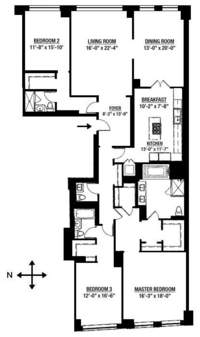 floorplan for 15 Central Park West #27C