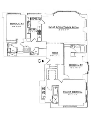floorplan for 15 Central Park West #15G