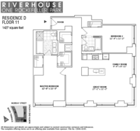 floorplan for 1 River Terrace #11D