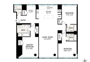 floorplan for 2 River Terrace #3T