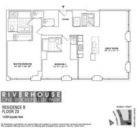 floorplan for 1 River Terrace #23B