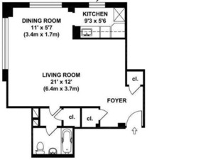 floorplan for 200 East 36th #2A