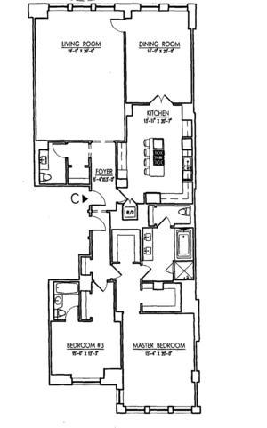 floorplan for 15 Central Park West #3C
