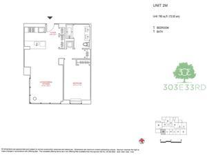 floorplan for 303 East 33rd Street #2M
