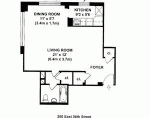 floorplan for 200 East 36th Street #13A