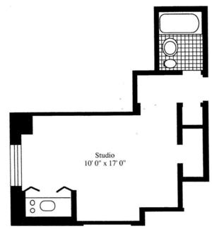 floorplan for 5 Tudor City Place #1014