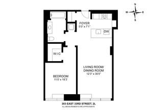 floorplan for 303 East 33rd Street #2L