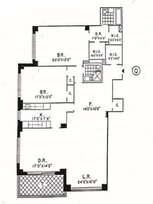 floorplan for 150 East 69th Street #3Q