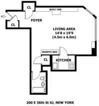 floorplan for 200 East 36th Street #6J