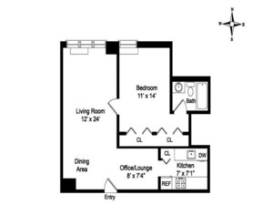 floorplan for 220 East 65th Street #24J
