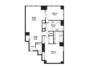 floorplan for 845 United Nations Plaza #36E