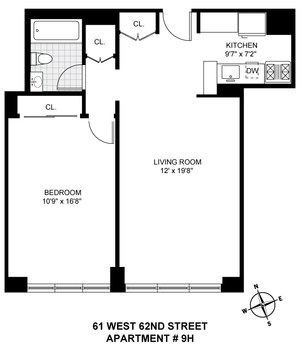 floorplan for 61 West 62nd Street #9H