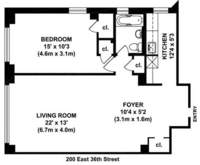 floorplan for 200 East 36th Street #1H