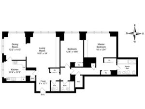 floorplan for 845 United Nations Plaza #58A