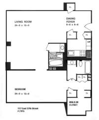 floorplan for 1 River Terrace #3L