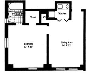floorplan for 5 Tudor City Place #1319
