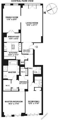 floorplan for 15 Central Park West #26B