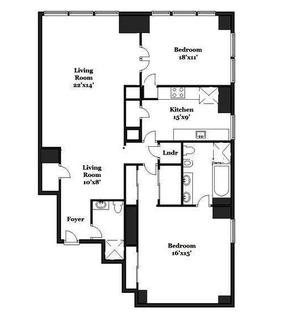 floorplan for 845 United Nations Plaza #35E