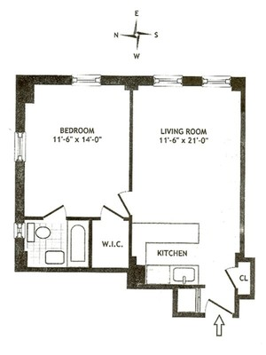 floorplan for 5 Tudor City Place #1432