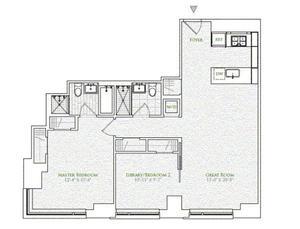 floorplan for 2 River Terrace #4E