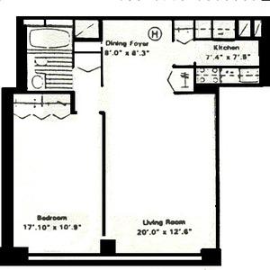 floorplan for 61 West 62nd Street #19H