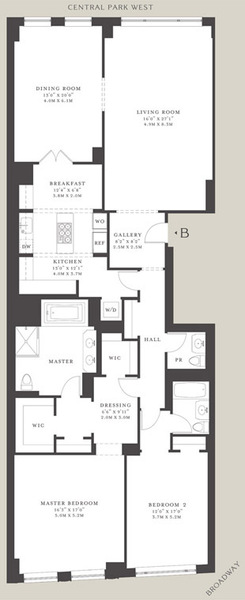 floorplan for 15 Central Park West #30B