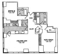 floorplan for 845 United Nations Plz #17D