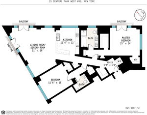 floorplan for 15 Central Park W #8G