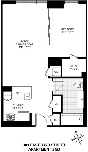 floorplan for 303 East 33rd Street #8D