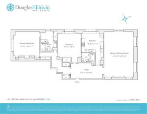 floorplan for 150 Central Park South #2204