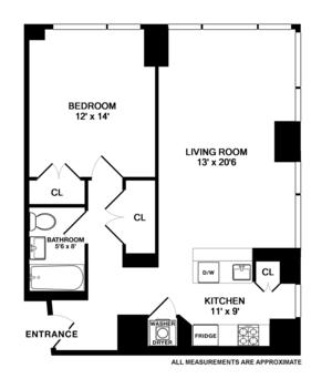 floorplan for 635 West 42nd Street #22A