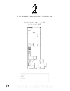 floorplan for 21 West End Avenue #1215