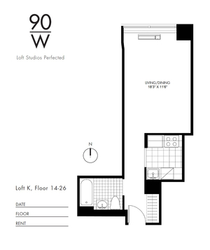 floorplan for 90 Washington Street #25K