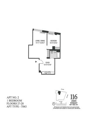 floorplan for 116 John Street #2802