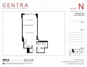 floorplan for 230 East 44th Street #8N