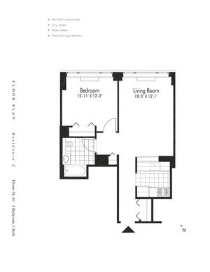 floorplan for 601 West 57th Street #38E