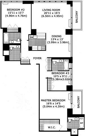 floorplan for 422 East 72nd Street #36D