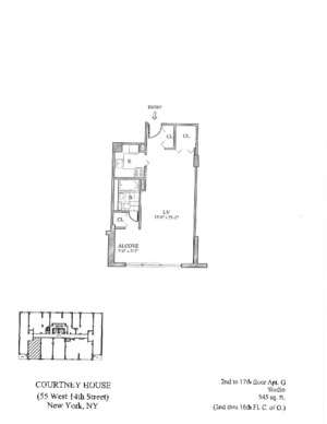 floorplan for 55 West 14th Street #10G